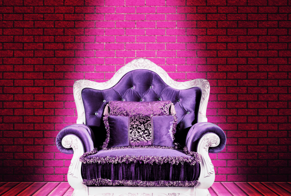 according to brand color psychology, this purple chair evokes luxury