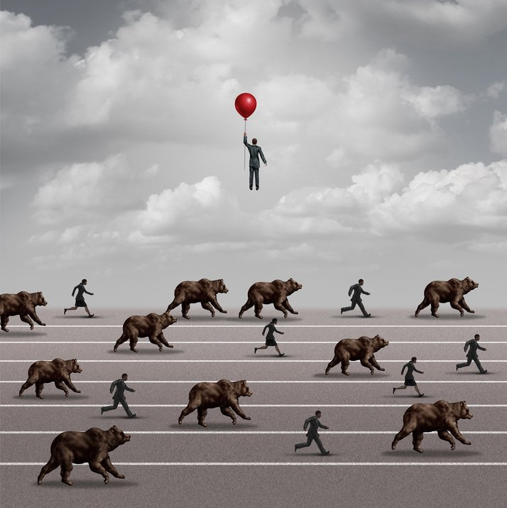 Business man escaping the herd by flying away with a balloon; he's different from the rest because he has a business continuity plan
