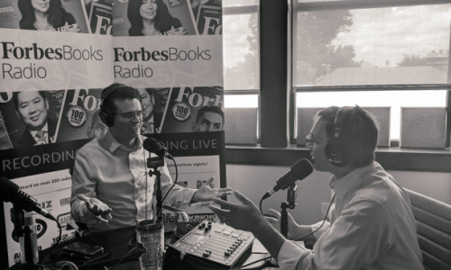 Eric Michrowski recoding podcast with forbesbooks radio