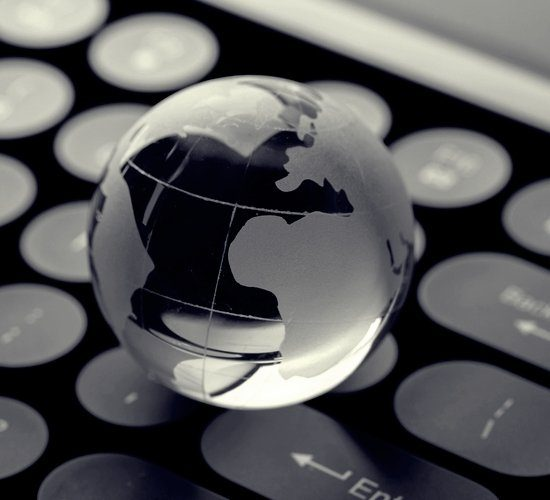 keyboard with globe for global concept