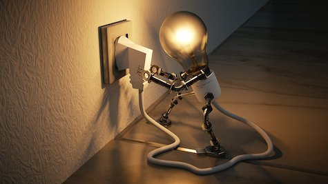 light bulb connecting to power, the same way work is ignited by creativity and innovation