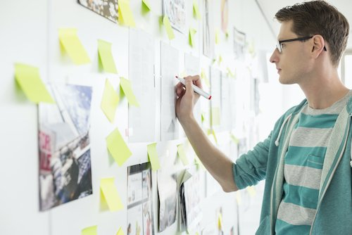 Creative businessman writing goals on the wall because he knows the importance of goal setting