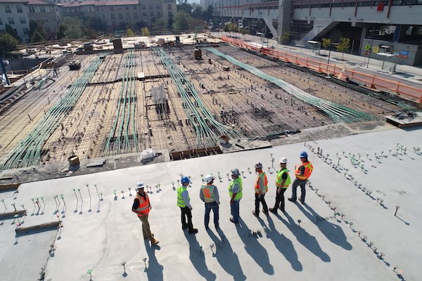 group of construction workers doing training to increase safety employee engagement