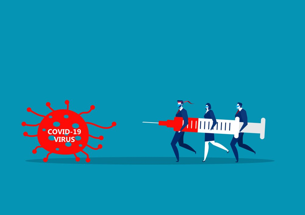 people fighting COVID-19 with giant vaccine; similarly, option planning helps businesses fight against COVID-19