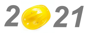 Year 2021 and yellow safety hat
